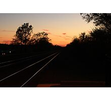 Western sky beyond the train tracks leaving Lisle, IL Photographic Print