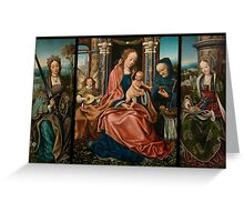 The Holy Family Triptych by Master of Frankfurt (c. 1520) Greeting Card