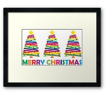 Colorful Christmas Trees Framed Print