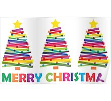 Colorful Christmas Trees Poster