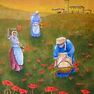 Harvesting Poppies in Tuscany by Allegretto