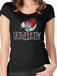 Black Fairy Tail and Red Happy Logo Women's Fitted Scoop T-Shirt