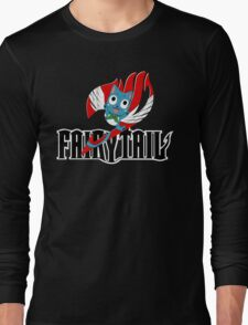 Black Fairy Tail and Red Happy Logo Long Sleeve T-Shirt