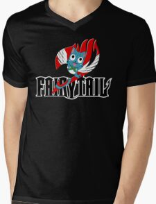 Black Fairy Tail and Red Happy Logo Mens V-Neck T-Shirt