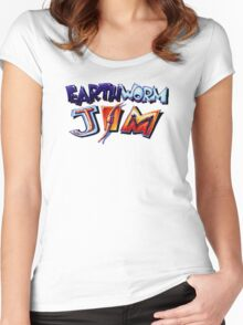 Earthworm Jim (SNES) Title Screen Women's Fitted Scoop T-Shirt