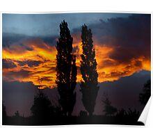 Burning Sky / Omakau / Central Otago / New Zealand Poster