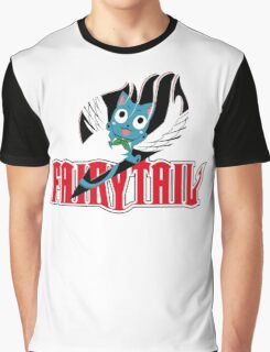 Red Fairy Tail and Black Happy Logo Graphic T-Shirt