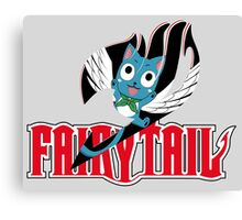 Red Fairy Tail and Black Happy Logo, Sticker Canvas Print