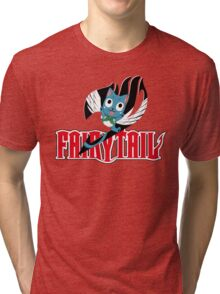 Red Fairy Tail and Black Happy Logo Tri-blend T-Shirt