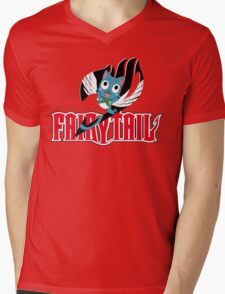 Red Fairy Tail and Black Happy Logo Mens V-Neck T-Shirt