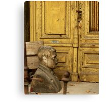 Bust & Yellow Door, Budapest, Hungary Canvas Print