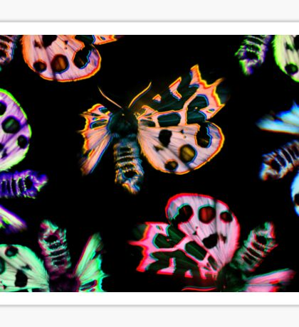 neon moths on black Sticker