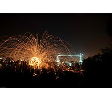 Wirewool Spinning and Newport Transporter Bridge Photographic Print