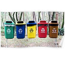 Recycling bins in Sao Paulo Poster