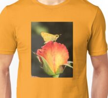 Fiery Skipper Butterfly on Rosebud Unisex T-Shirt