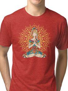 Yoga Om Chakras Mindfulness Meditation Zen 4 Tri-blend T-Shirt