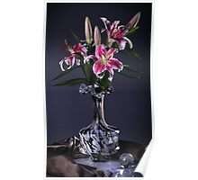 Pink Lily Flowers Poster