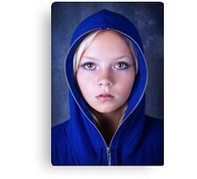 Portrait of young beautiful teen girl in blue hood Canvas Print