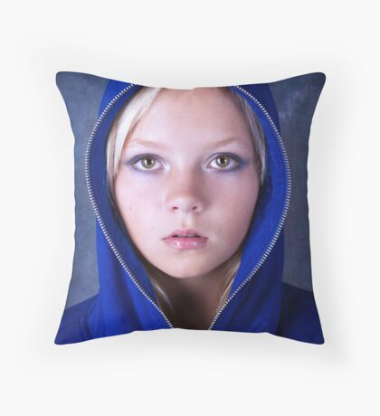 Portrait of young beautiful teen girl in blue hood Throw Pillow