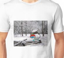 Cat On Snowy Fence Unisex T-Shirt