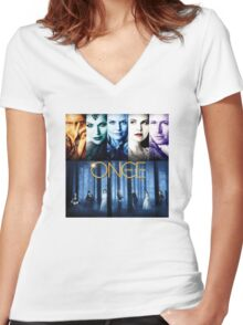 Once Upon a Time, OUAT, season 1, rumplestilskin, emma swan, prince charming, snow white, regina, evil queen, blue woods Women's Fitted V-Neck T-Shirt