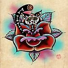 Day of The Dead Zombie Cat Rose Tattoo by Helen Aldous