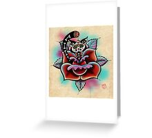 Day of The Dead Zombie Cat Rose Tattoo Greeting Card