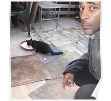 Me/cat/milk bowl/02 -(070912)- Digital photo  Poster