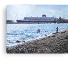 Cunard Queen Mary at Weston shore, Southampton Canvas Print