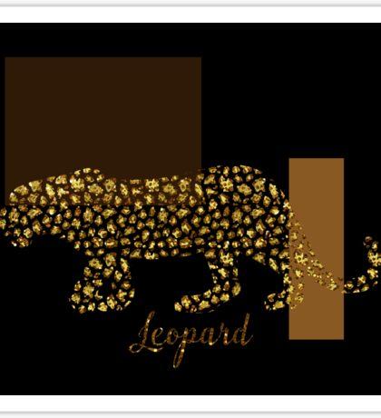 Golden Leopard Modern Gilt wild cat, gold black brown Sticker