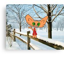 Cat Enjoying The Snow Canvas Print