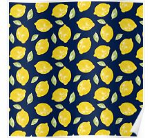 Watercolour Lemons and Leaves Pattern Poster