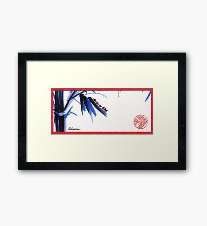 """Follow the Leader"" - Ladybug mama and kids go for a walk Framed Print"