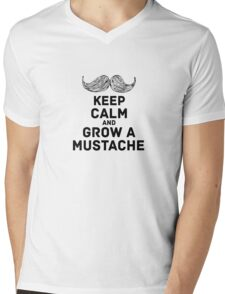keep calm & mustache Mens V-Neck T-Shirt