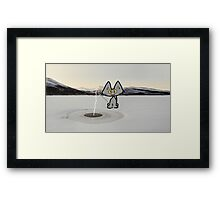Cat Ice Fishing Framed Print