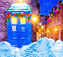 Old Blue Police Box In A Christmas Snow by Mark Tisdale