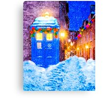 Old Blue Police Box In A Christmas Snow Canvas Print