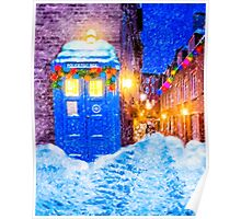 Old Blue Police Box In A Christmas Snow Poster