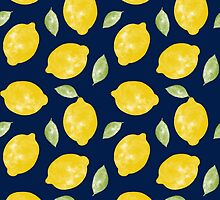 Watercolour Lemons and Leaves Pattern by cikedo