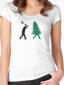 Funny Christmas Tree Hunted by lumberjack (Funny Humor) Women's Fitted Scoop T-Shirt