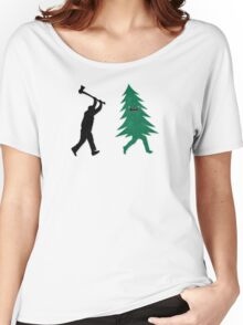 Funny Christmas Tree Hunted by lumberjack (Funny Humor) Women's Relaxed Fit T-Shirt