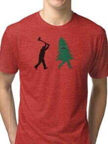 Funny Christmas Tree Hunted by lumberjack (Funny Humor) Tri-blend T-Shirt