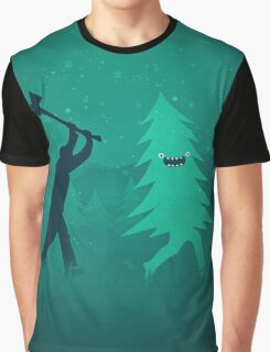 Funny Christmas Tree Hunted by lumberjack (Funny Humor) Graphic T-Shirt