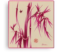 """Pink Gives Us Hope"" - Original sumi-e bamboo asian brush pen painting Canvas Print"
