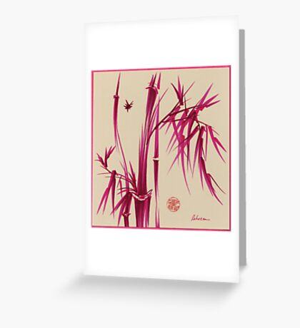 """Pink Gives Us Hope"" - Original sumi-e bamboo asian brush pen painting Greeting Card"