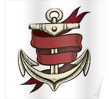 Anchor with Ribbon Poster