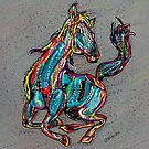 Colorful Abstract Horse Digital Art by artonwear