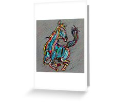 Colorful Abstract Horse Digital Art Greeting Card