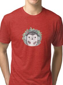 Holiday Hedgie - Watercolor - Willow Heath Tri-blend T-Shirt
