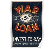 War loan Invest to day Apply at nearest post office 185 Poster